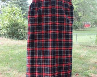 tartan plaid vintage girls or small ladies v neck shift dress hand made retro kids clothing vintage teenager dress