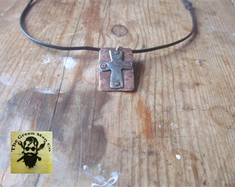 Copper & pewter cross necklace.