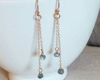 SPECIAL PRICE! Dainty labradorite gemstone and gold chain minimalist earrings. Dangle. Drop. Boho chic. Everyday. Gift. Bridesmaid. Grey. Se