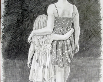 mother daughter sisters drawing print