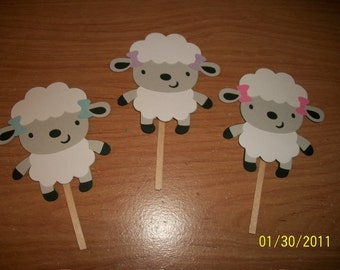 Lamb cupcake toppers- set of 12