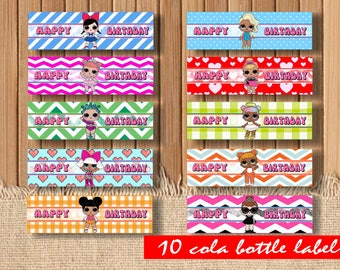 Digital LOL dolls bottle labels| LOL surprise dolls| Lol birthday party| Printable Lol | Lol decor