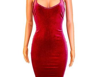Velvet Velour Burgundy Bodycon Fitted Knee Length Dress - Burgundy