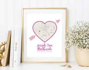 Wedding or Anniversary Gift Print Map