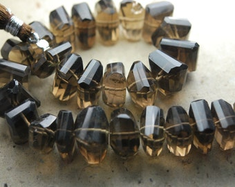 7 Inch Strand,New Smoky Quartz Faceted Fancy Cut Nuggets Shape ,12-14mm Long,Great Price