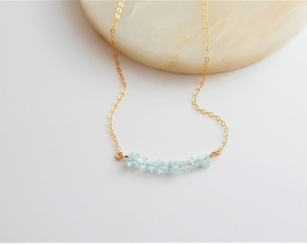 Aquamarine Gemstone Bar Necklace • March Birthstone • Natural Raw Gemstones • Beaded Necklace • Layering Necklace • Boho • Gift for Her