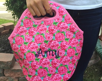 Lilly Pulitzer Inspired Lunch Boxes // Monogram Preppy Lunch Box // Little Girl Personalized Lunch Box // Roses Monogram Purse //