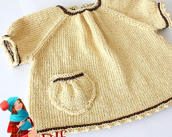 Knitting Pattern (PDF file) Sweet T-shirt (sizes 0 up to 2 years)