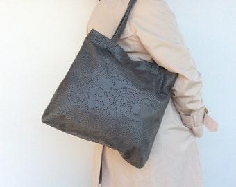 Gray Leather Tote Bag, Women Purses, Original Bags, Shoulder Handbag, Woman Purse, Everyday Tote Bag, Handmade Purses and Bags, Yosy