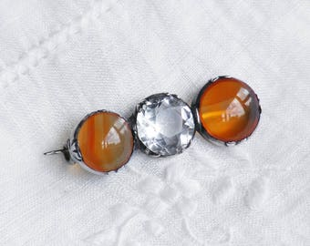 Antique Rock Crystal & Carnelian Brooch | Edwardian Sterling Silver Pin | Antique Brooch - Faceted Quartz Crystal and Carnelian Cabochons