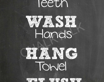 Bathroom Rules Sign - Bathroom Rules Chalkboard - Brush Your Teeth - Wash Your Hands - Powder Room Decor - Bathroom Decor -  Printable -