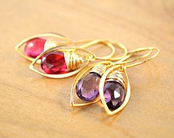 Purple Quartz Earrings, Pink Quartz Earrings, Leaf Shape Earrings, Gold Leaf Earrings, ONE PAIR, Your Choice of Pink or Purple Quartz