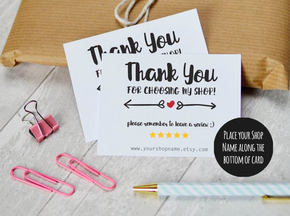 etsy shop thank you cards instant download etsy sellers
