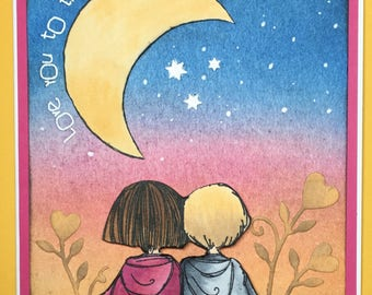 Over the Moon Love/Valentine's Day Greeting Card (A6)