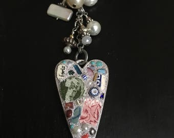 One of a kind Mosaic Heart and beaded Necklace...Dynamic…Eclectic…Artisan H E A R T  created by Jan Bryan-Hunt