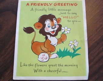1950s USED Card, Greeting Card, no envelope, lion