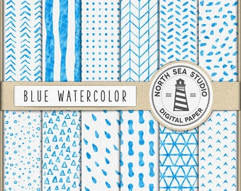 BLUE WATERCOLOR, Digital Paper, Hand Painted Patterns, Blue Watercolor Patterns, Watercolor Patterned Paper, Coupon Code: BUY5FOR8