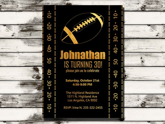 Adult Football Birthday Party Invitation