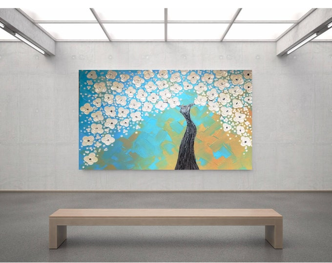 Impasto Acrylic Painting Palette Knife Brush White, Blue and Soft Yellow Tree of Life Large Stretched Canvas