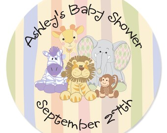 24 Zoo Crew - Zoo Animals Circle Stickers - Personalized Baby Shower or Birthday Party DIY Craft Supplies