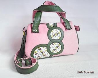 Handbag leather pink, Khaki and fabrics