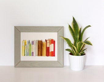 Books Watercolor Painting, Fine Art Print, Book Illustration, Book Art, Teacher Gifts, Books for Decor, Child's Room Decor, Book Painting