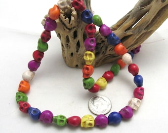 1 Strand Dyed Synthetic Howlite Skull Bead 9 x 7.5 x 9mm - Mixed (B69j)