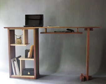 Stand Up Desk in Walnut: Modern Home Office- Custom Wood Furniture