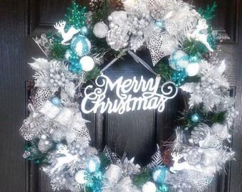 Winter Wreaths, Christmas Wreath, Christmas Door Wreath, Lighted Christmas Wreath, Holiday Door Wreath, Holiday Wreath, Silver Xmas Decor