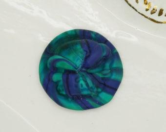 Pétrole-cobalt opaque tourbillon crâne Murano Cabochon cabochon verre à la main Art