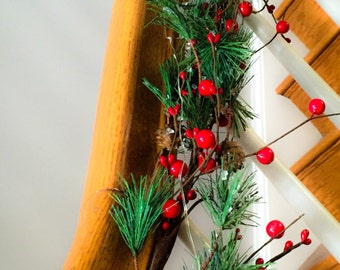 Christmas Garland 6' Pine Garland Pip and Red Berries Pine Artificial Christmas Garland Christmas Swag Simple Rustic Garland
