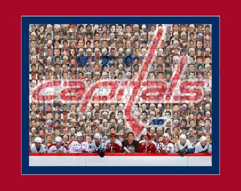 Washington Capitals Mosaic Print Art  Designed Using Past & Present Player Photos. Free Shipping