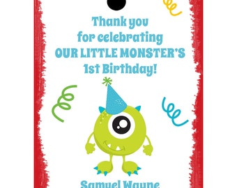 24 Personalized Birthday Favor Tags - Little Monster Theme - Little Monster Birthday Favor Tags