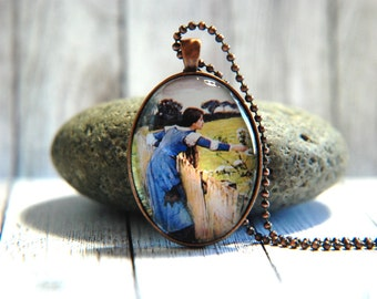 Oval Glass Pendant Necklace, 30mm x 40 mm -  John William Waterhouse Painting -  Spring