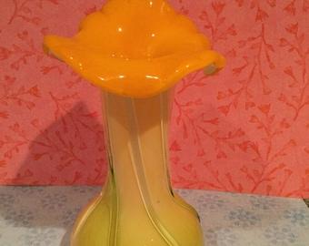 Vintage Handblown Jack In The Pulpit Candy Striped Vase