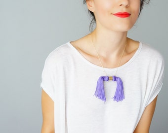 Unique Gift Girlfriend Gift For Her Tassel Necklace Tassel Jewelry Statement Necklace Purple Necklace/ MOOS