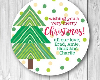 Christmas Tree Holiday Labels, Personalized Christmas Stickers, Holiday Gift Tags, Custom Christmas Labels