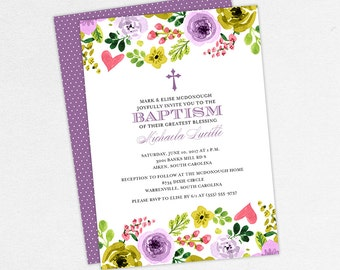 Baptism Invitation, Christening Invitation, Girl Baptism, Printable Baptism Invitation, PDF, Flowers, Floral, Watercolor, Pink, Michaela