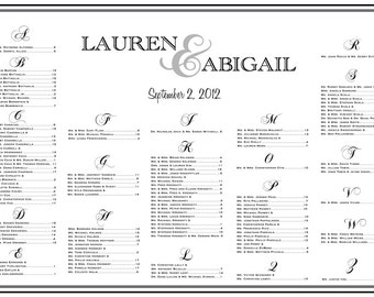 Wedding  Seating Chart, Table Assignments, Reception Seating, Large Seating Poster, Seating Template