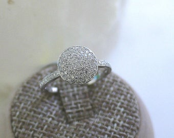 18K solid white gold round diamond disc dome ring