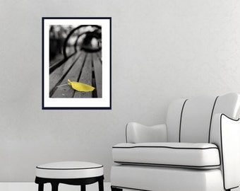 Black and yellow minimalist art, park bench print, yellow leaf wall picture, modern photography, vertical wall art, office art, foyer decor