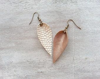 Leather Leaf shaped earrings Leather leaf earrings Joanna Gaines Rose Gold earrings dangle earrings