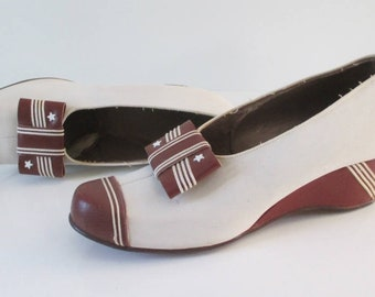 Vintage 30's 40's Stars & Stripes WWII Victory Wedge Heel Loafers Shoes 7