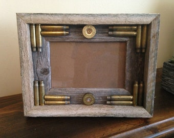 Bullet Picture Frame/Brass and Barnwood/Shot Shells/Man Cave Decor/Gun Stuff