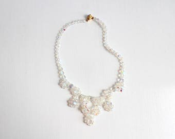 Aurora Borealis Necklace, Crystal Aurora Borealis Necklace, Crystal Necklace, Iridescent Necklace, Rainbow Necklace Beaded Necklace, Lattice