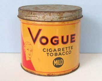 """1960's Vogue Cigarette Tobacco Tin/ 1/2 lb Tin for loose tobacco/ 4 1/4"""" H X 4 1/4"""" W"""