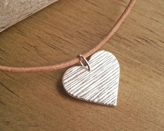 Silver Heart Necklace OOAK Pendant Handmade Heart Woodgrain Texture Fine Silver Charm Natural Tan Leather Cord Sterling Silver Rustic Heart