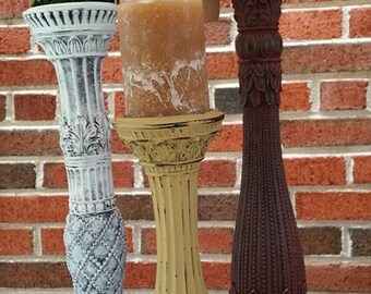"""Set of Three """"Fitz & Floyd"""" Ornate, Tall, Pillar Candle Holders. """"Renewed"""" in White, Mustard Yellow and Burgandy.  Tuscany Style"""