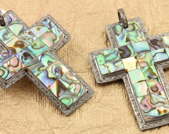 Pave Diamond Pendant, Pave Abalone Cross Pendant, Diamond Abalone Cross Charm, Pave Cross, Pave Connector, Oxidized Silver. (DCH/PDT/703)