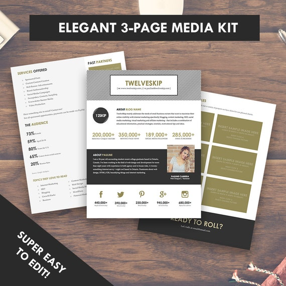 Elegant Blog Media Kit Template Press Kit  Pages